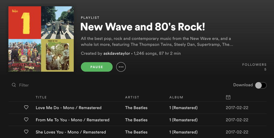 spotify - new wave and 80's rock - playlist