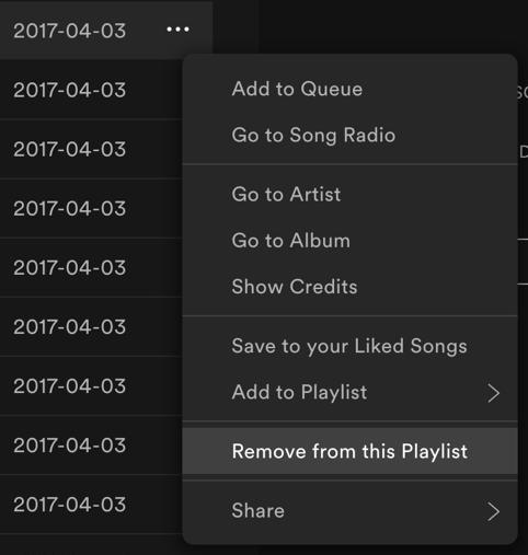 spotify track song menu