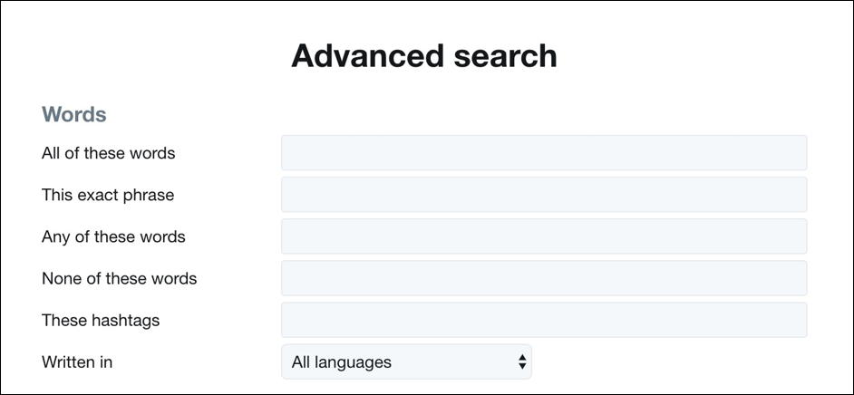 twitter advanced search - words and phrases