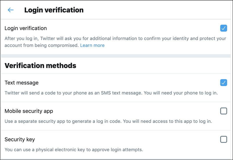 twitter 2-factor authentication settings preferences security login text sms