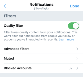 twitter - notification filters - quality