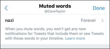twitter muted word - nazi - tweet stream filter