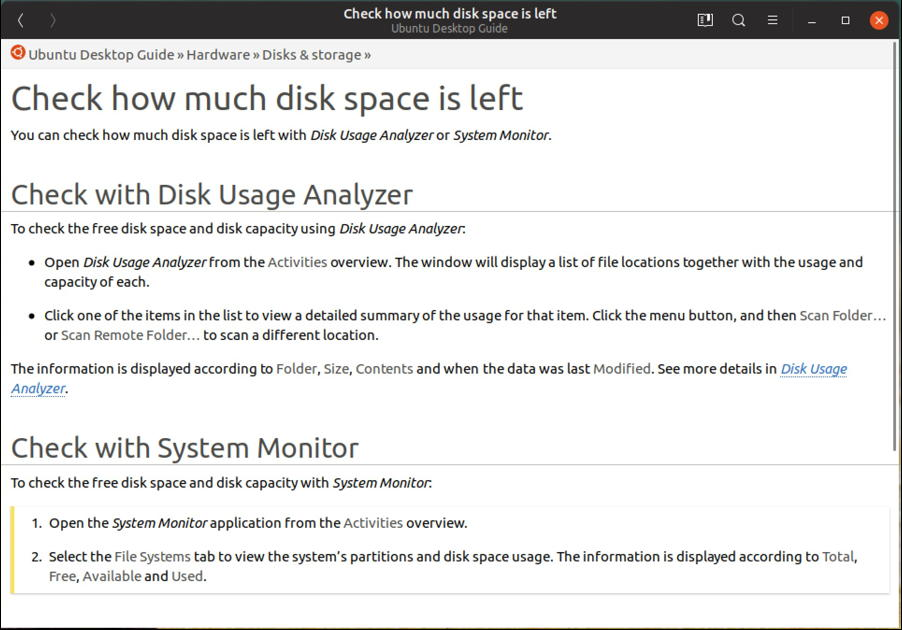ubuntu linux figure out disk free space help