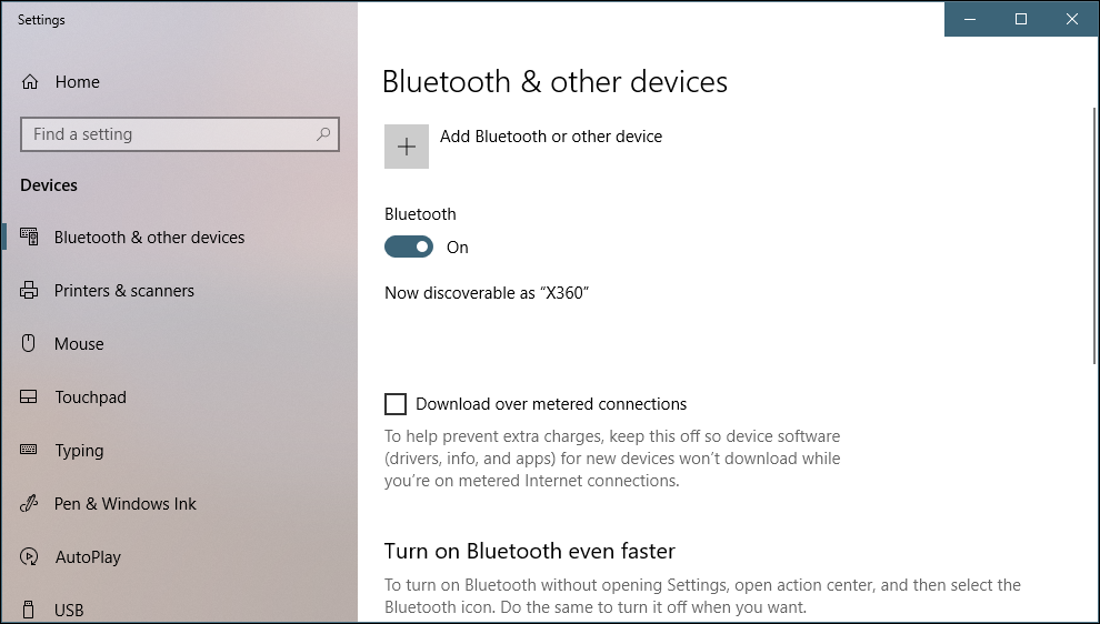win10 bluetooth control panel settings - add device