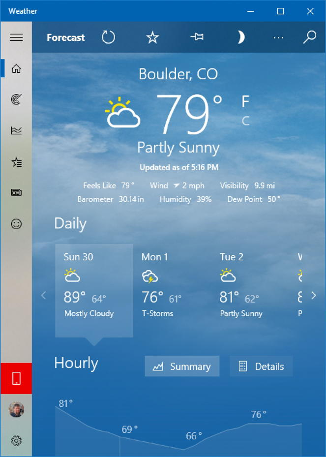 win10 weather - boulder co