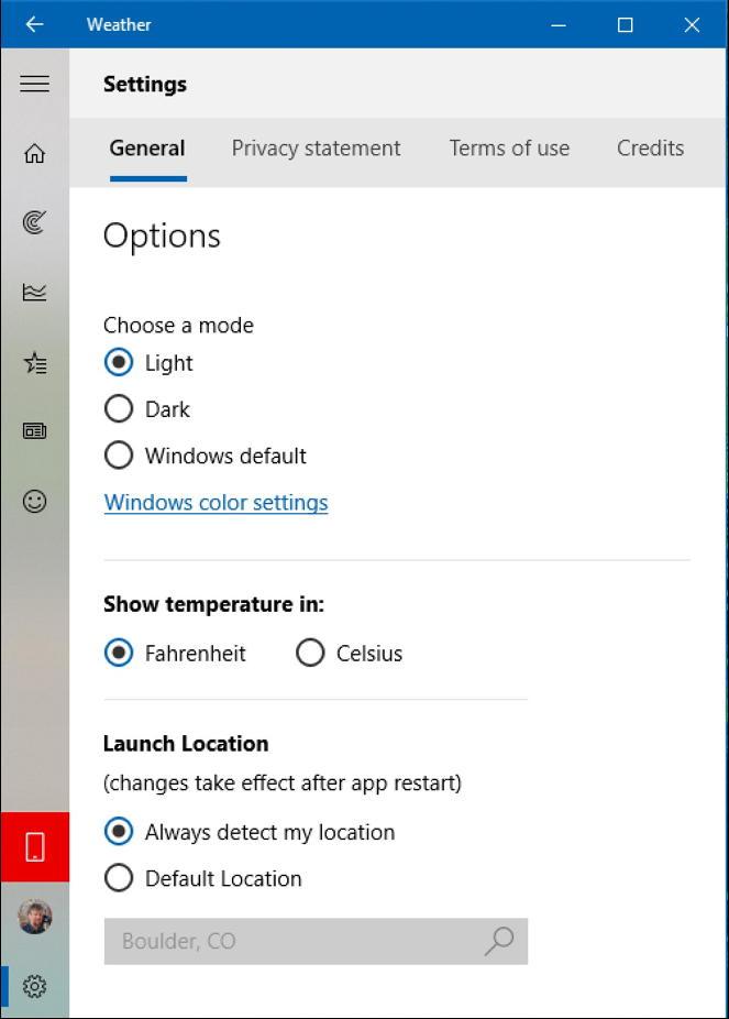 win10 weather app program - settings location