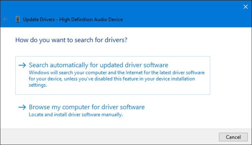 win10 update device driver: search where?