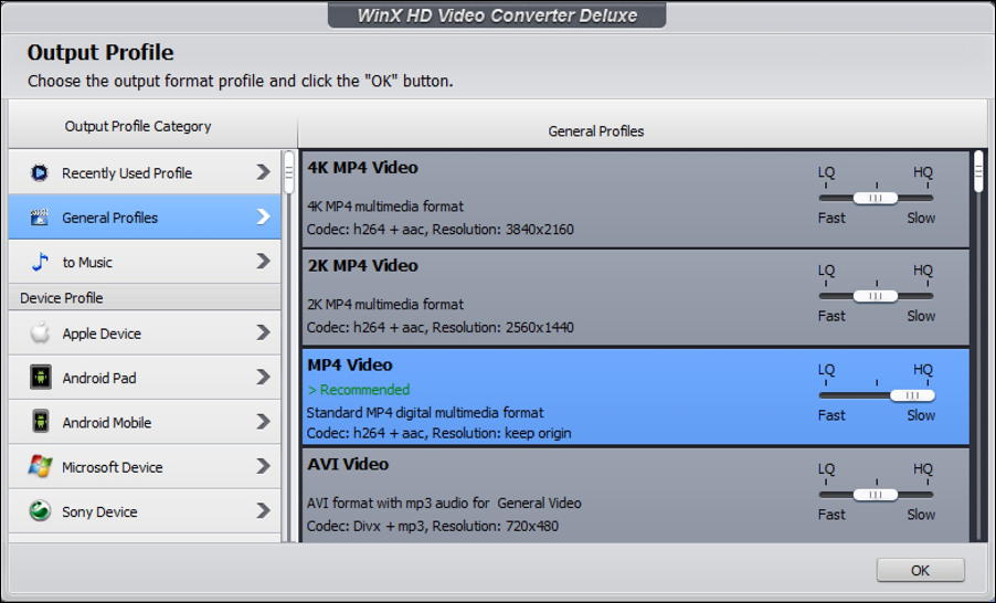 winx hd video converter conversion settings preferences resolution