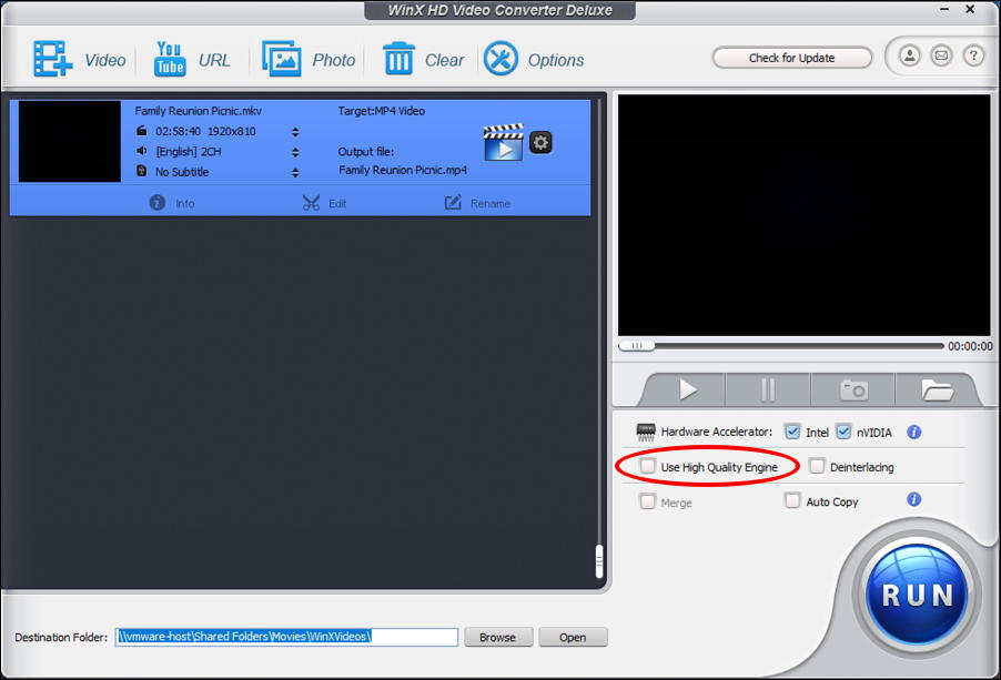 winx hd video converter ready to convert