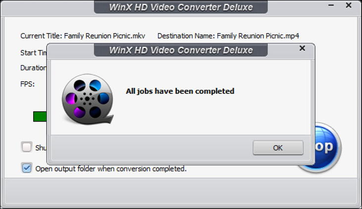 winx hd video converter - finished conversion