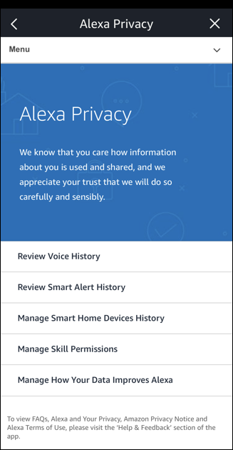 amazon echo / alexa privacy settings app