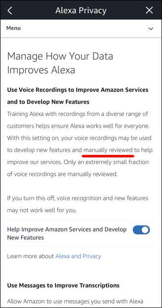 amazon alexa echo privacy settings human listening disable