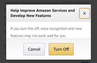 are you sure you want to disable alexa human monitoring listening