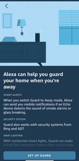 enable alexa guard home security