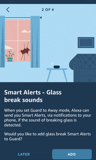 set up alexa guard home security - glass breakage alert