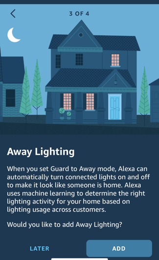 set up alexa guard home security - away lighting