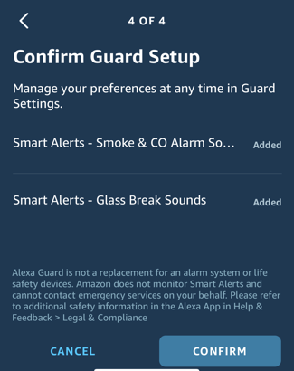 set up alexa guard home security - confirm setup