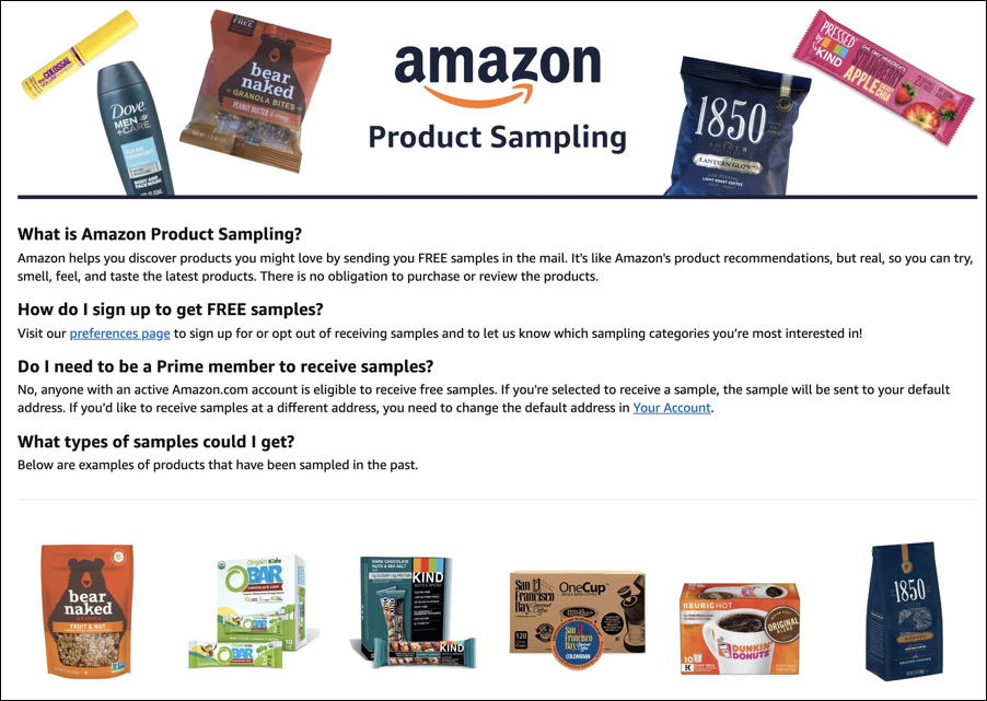 sign up amazon product sampling amazon.com