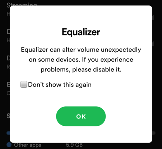 spotify android eq equalizer warning