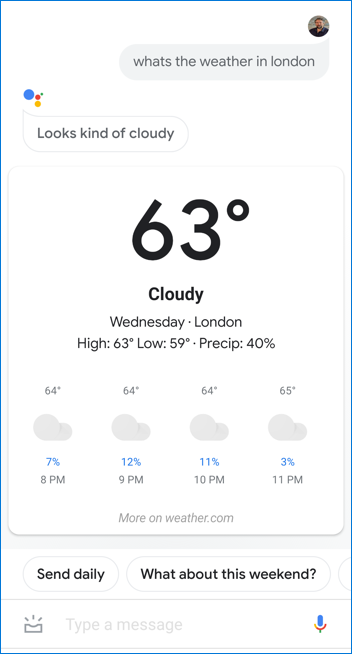 weather in london - google assistant - android