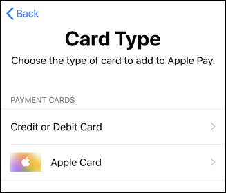 apple wallet - add card - card type - apple card - iphone