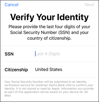 enter your ssn verify identity apple card application