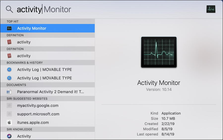 mac macos x spotlight activity monitor
