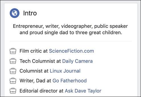 facebook profile - job summary