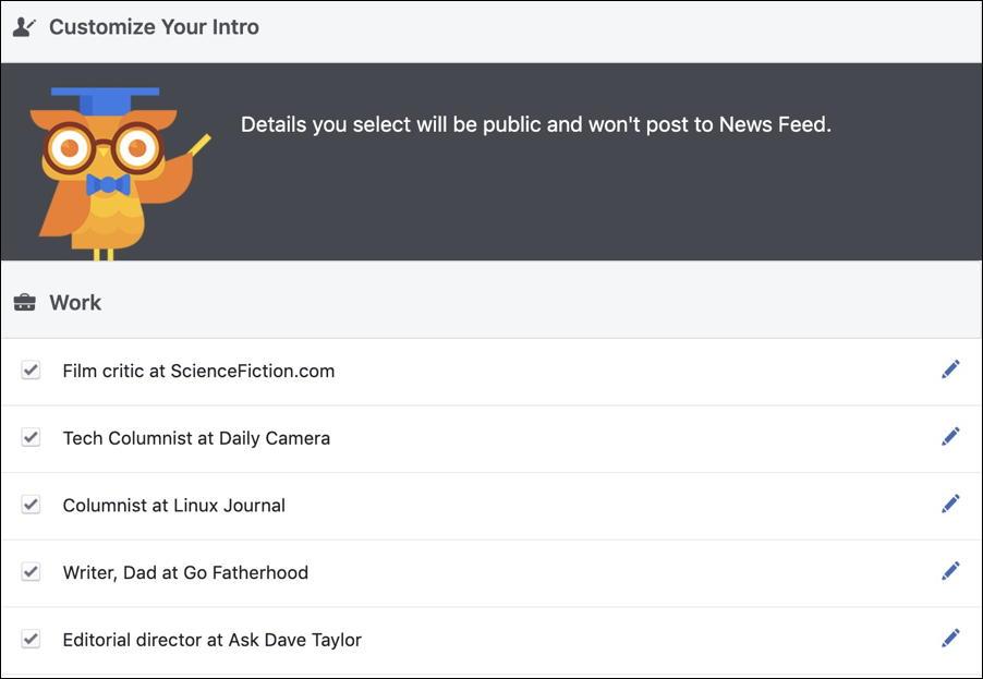 facebook job business summary profile