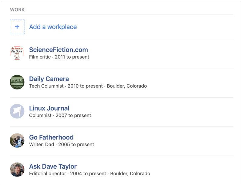 facebook profile - job history
