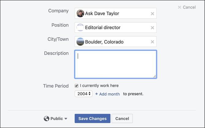 facebook profile job details