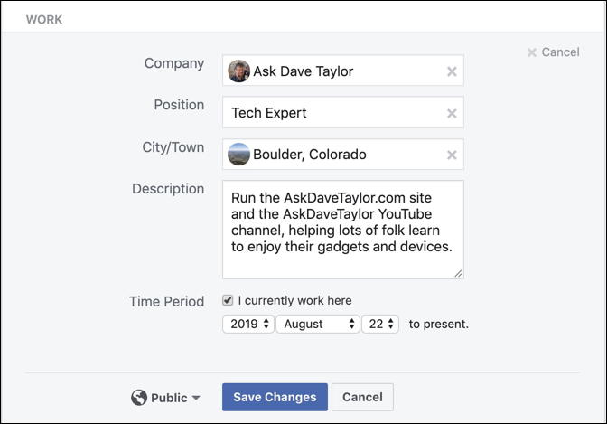 facebook profile - add a workplace