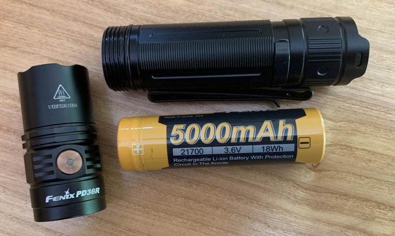 fenix pd36r flashlight w/ battery