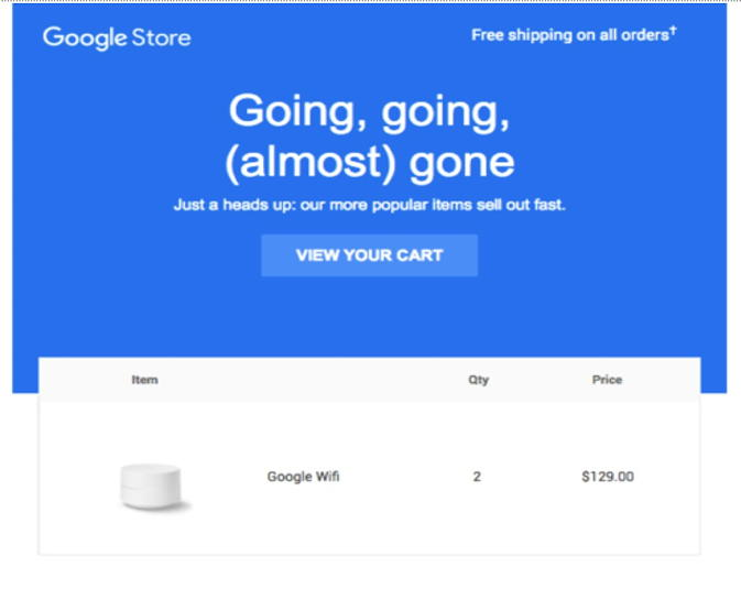 gmail store - abandoned cart