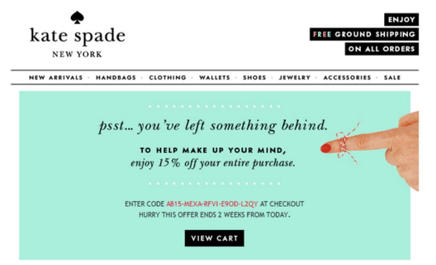 kate spade - abandoned cart email