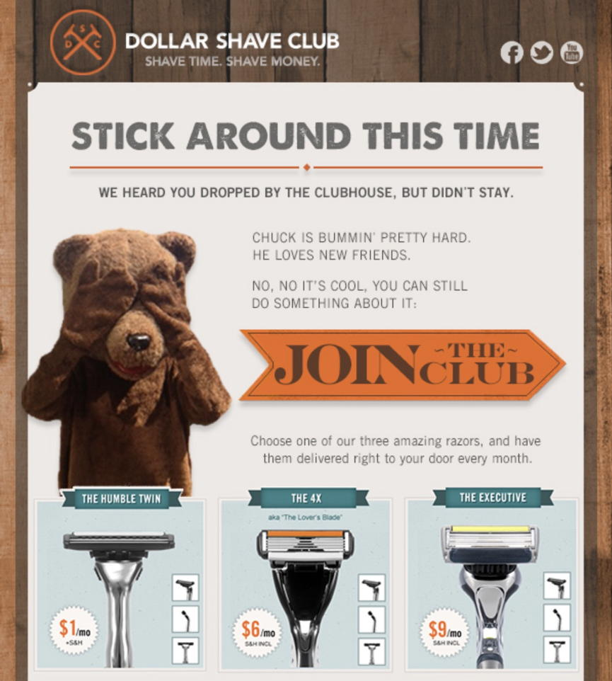 dollar shave club - abandoned cart email