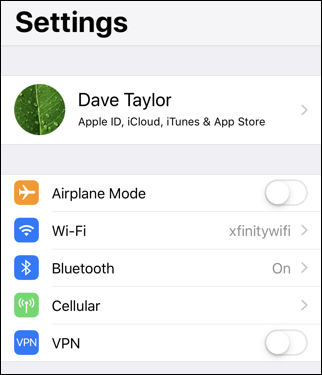 ios12 iphone - connected xfinitywifi wifi network