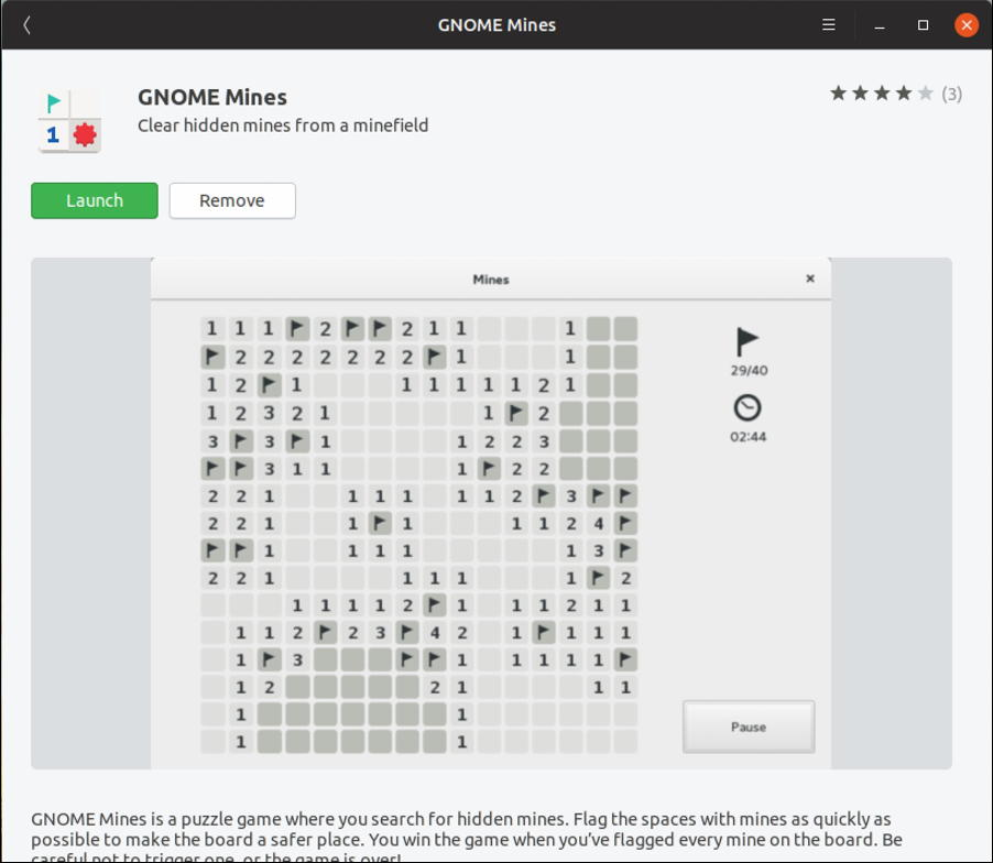 gnome mines - minesweeper for linux