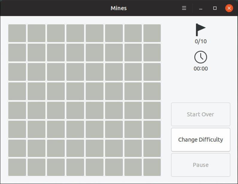 gnome mines - 8x8 grid - minesweeper linux ubuntu