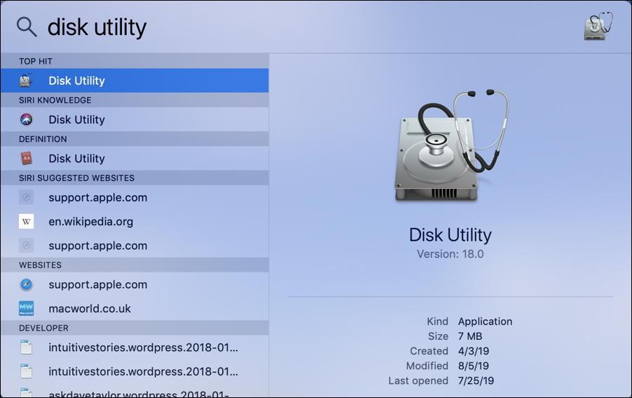 mac spotlight search - disk utility