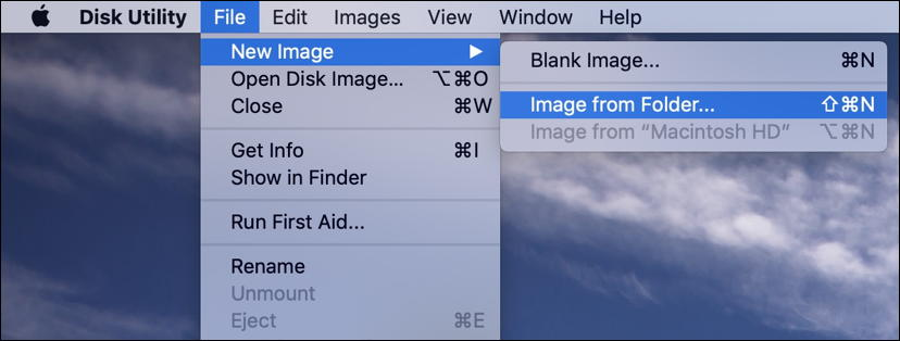 mac disk utility - file > new image > from folder