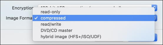 disk utility - mac - virtual disk - encryption options