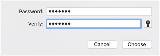 specify password - disk utility