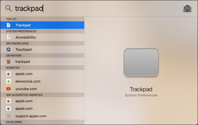 macos x spotlight search - trackpad controls