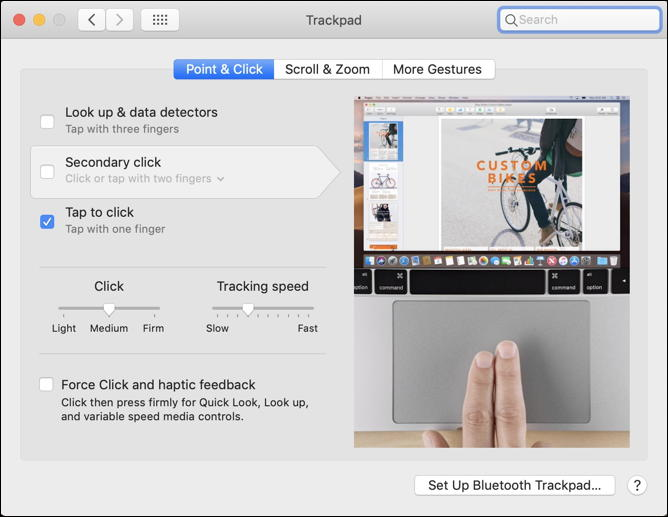 macos x - trackpad settings - tap to click