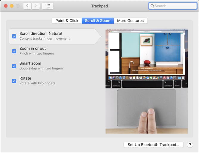 macos x - trackpad settings - click and zoom
