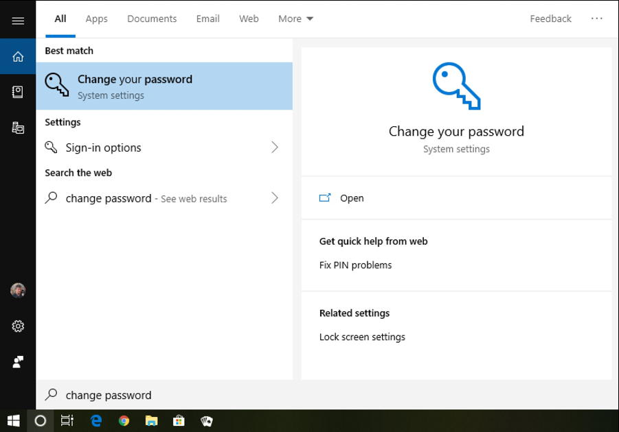 win10 search 'change password'