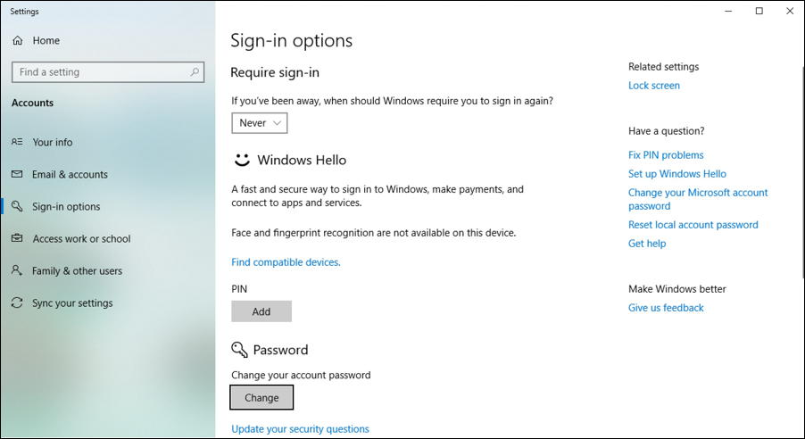 win10 account signin options window settings preferences