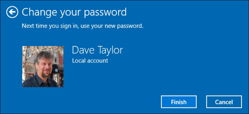 win10 password changed confirmation