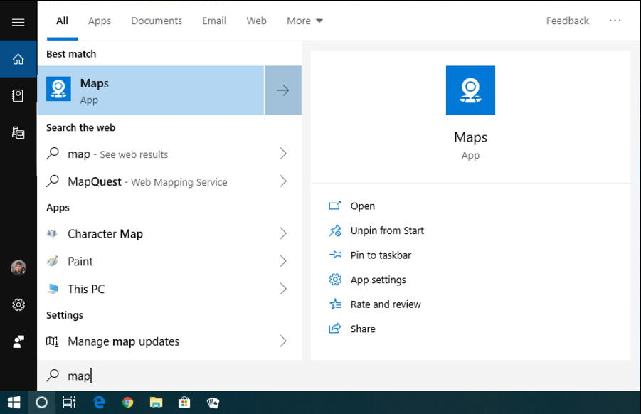 win10 search - maps